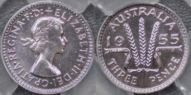 1955 Proof Threepence