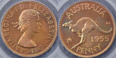 1955 Melbourne Proof Penny