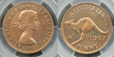 1957 Perth Proof Penny Polished (or Matte) type