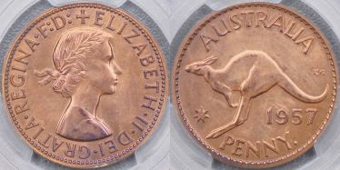 1957 Perth Proof Penny Brilliant type