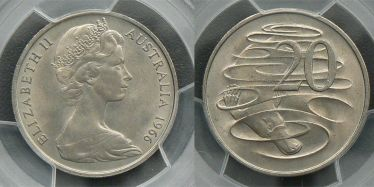 1966 London Twenty Cent