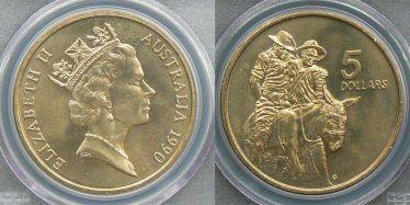 1990 Five Dollar Anzac Memorial