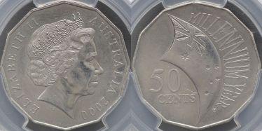 2000 Fifty Cent Millennium Incused Flag
