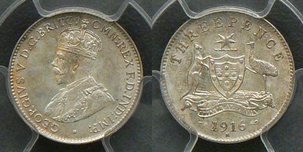 1916 threepence MS65