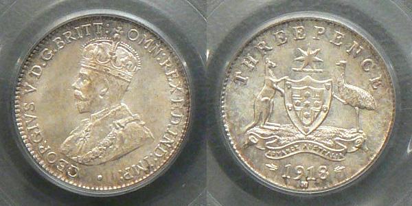 1918 threepence MS66
