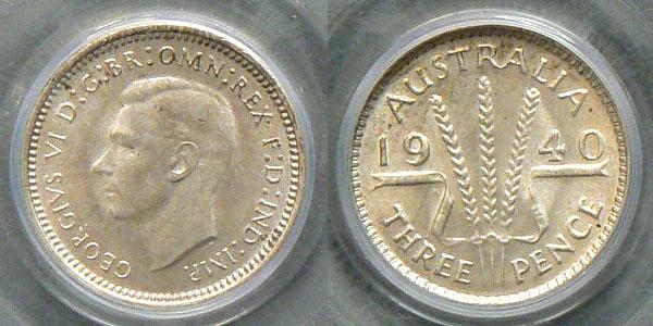1940 threepence MS64