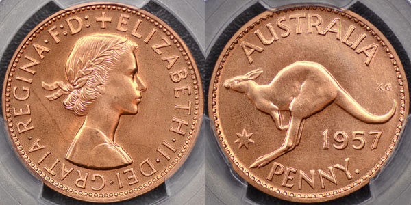 1957 proof penny brilliant