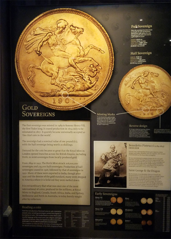 Where is the mintmark on the sovereign?